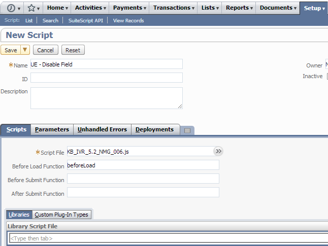 NetSuite Development Notes: Disable/Hide a Field Depending